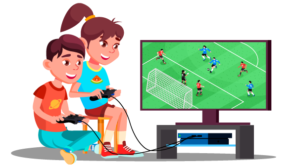 Illustration of boy and girl playing soccer video game