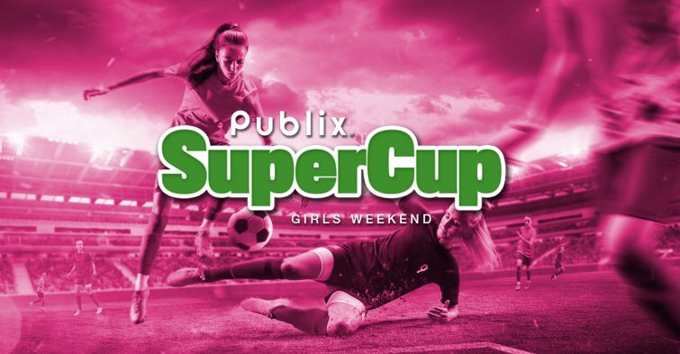 Publix SuperCup girls weekend logo on pink background