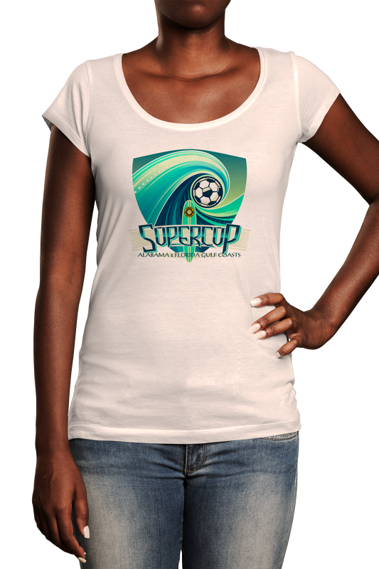 Woman wearing white tshirt with event logo