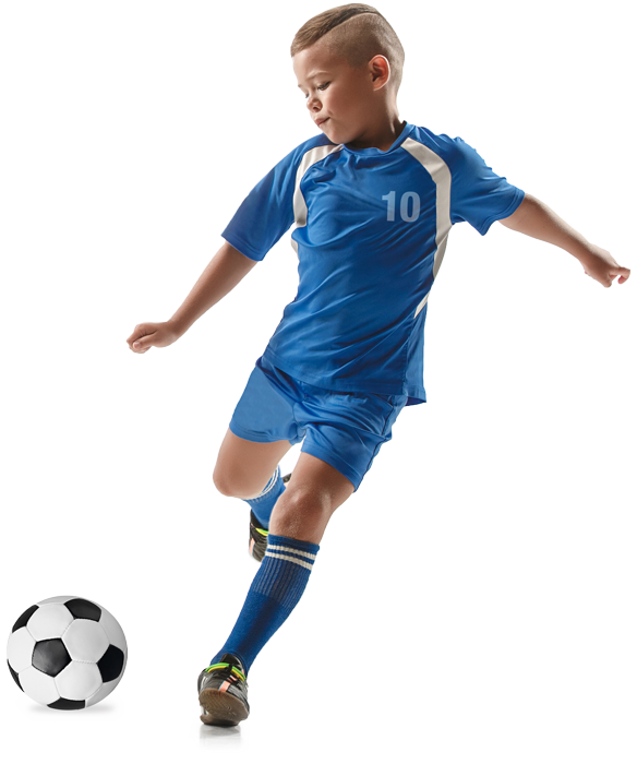 Boy soccer player in blue jersey