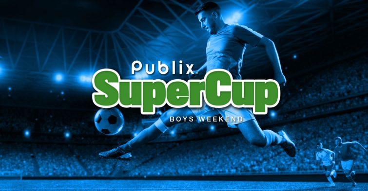 Publix SuperCup boys weekend logo on blue background