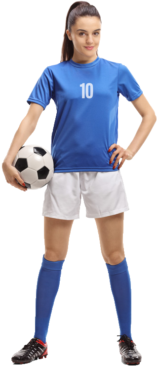 Girl Soccer Player in Blue Shirt holding a ball.
