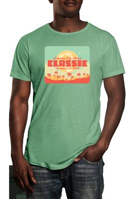 Panama City Beach Classic t logo on green tshirt