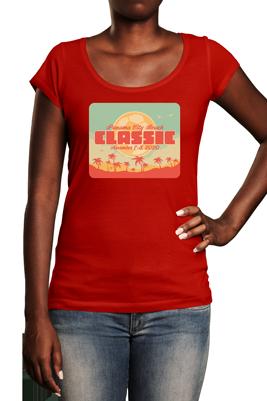 Panama City Beach Classic t logo on red tshirt