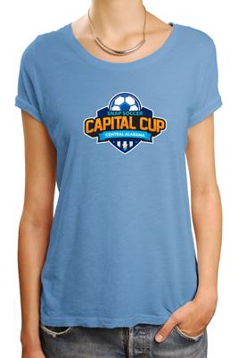 Capital Cup logo on light blue tshirt