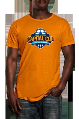 Capital Cup logo on orange tshirt