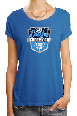 Coastal Academy Cup logo on blue tshirt