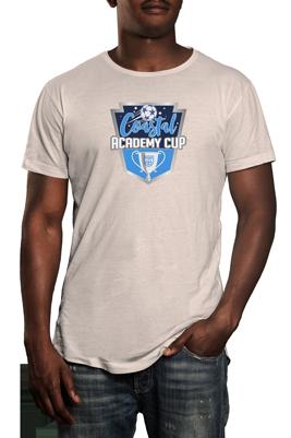 Coastal Academy Cup logo on white tshirt
