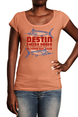 Woman wearing pink tshirt with Destin Soccer Rodeo soccer tournament logo