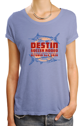 Woman wearing purple tshirt with Destin Soccer Rodeo soccer tournament logo