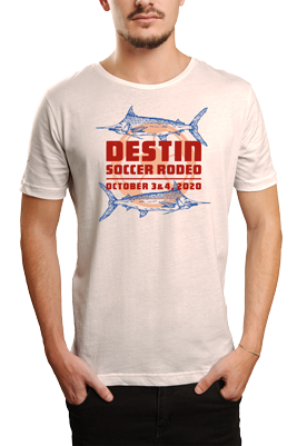 man wearing white tshirt with Destin Soccer Rodeo soccer tournament logo