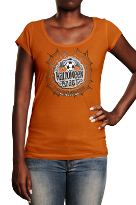 Woman wearing black t shirt with halloween blast logo