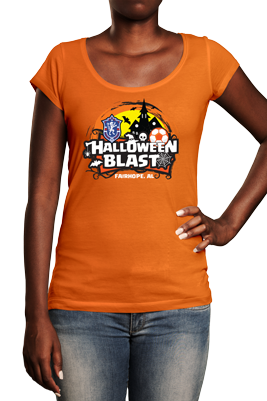 Halloween Blast logo on orange tshirt