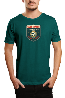 man wearing green t-shirt with Gulf States Showcase tournament logo on front