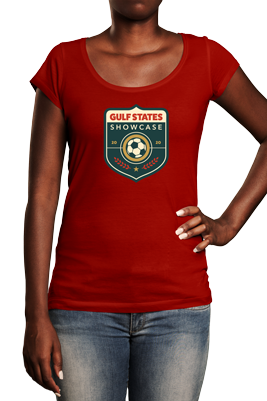 woman wearing red t-shirt with Gulf States Showcase tournament logo on front