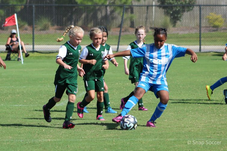 Girls playing soccer at the Publix SuperCup in Foley, Alabama 2020