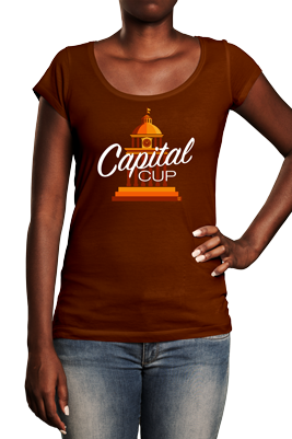 Woman wearing brown t shirt with Capital Cup logo