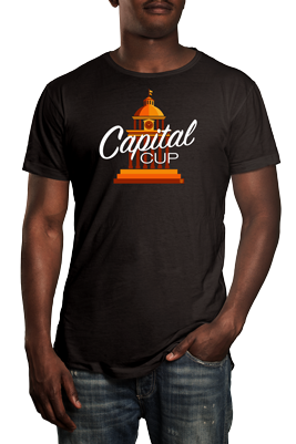 Man wearing black t shirt with Capital Cup logo